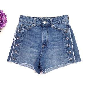 ZARA High Waist Rivet Cut Off Frayed Jean Shorts 2